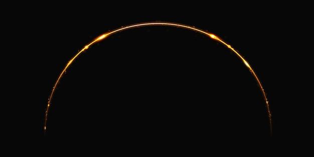 Curva di luce dorata sparkle sparkle illustrazione 3d