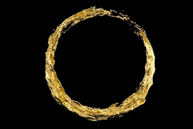 Il cerchio dorato della spruzzata del liquido isolato sul fondo nero di colore 3d rende