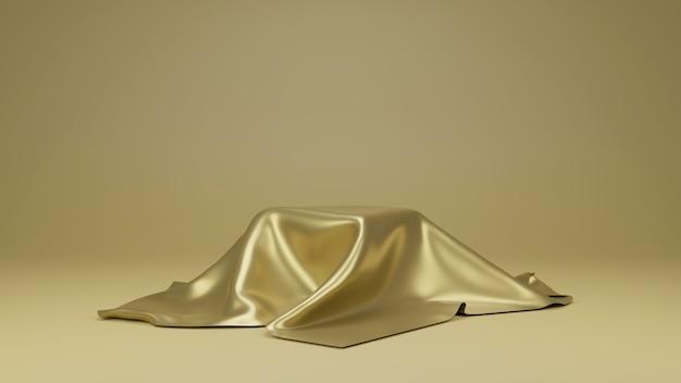 Tessuto di lusso dorato posizionato sulla parte superiore del piedistallo