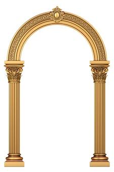 Arco classico in marmo di lusso dorato con colonne