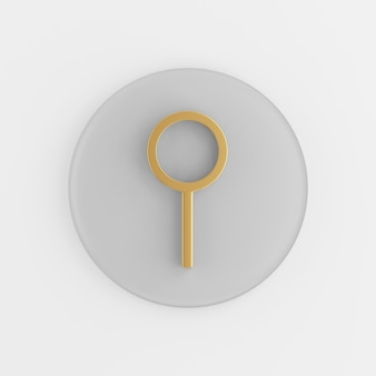 Icona di lente d'ingrandimento d'oro in stile piano. tasto rotondo grigio rendering 3d, elemento dell'interfaccia utente ux dell'interfaccia.