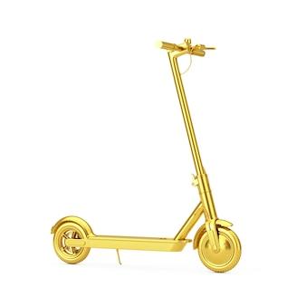 Scooter elettrico di scossa elettrica moderna dorata di eco su un fondo bianco. rendering 3d