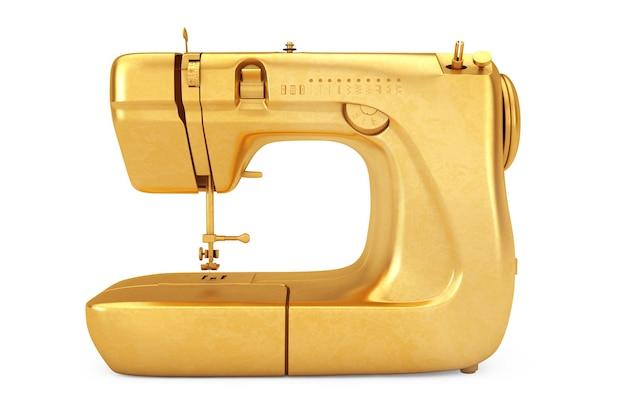 Macchina da cucire moderna dorata su sfondo bianco. rendering 3d