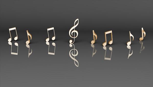 Note musicali dorate su sfondo nero, illustrazione 3d