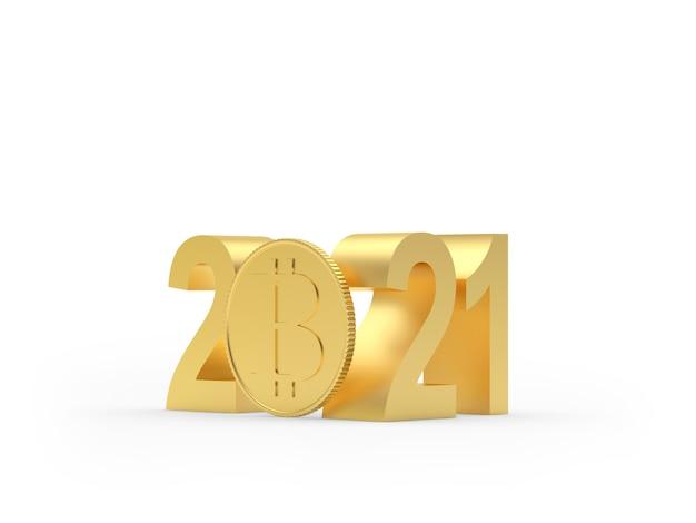 Numero aureo 2021 con moneta bitcoin Foto Premium