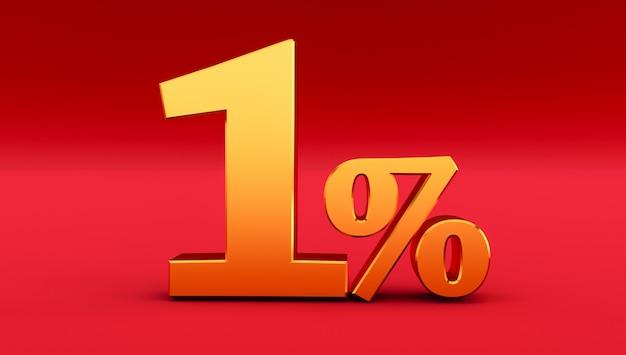 Oro uno per cento su uno sfondo rosso. rendering 3d