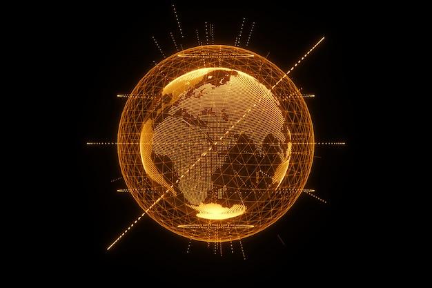 Ologramma dorato e arancione del pianeta terra fatto di punti isolati su un muro nero. globalizzazione, rete, internet veloce. copia spazio, rendering 3d illustrazioni 3d.