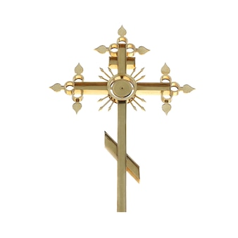 Croce ortodossa dorata isolato su sfondo bianco