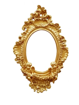 Cornice d'epoca ovale dorata isolata su sfondo bianco