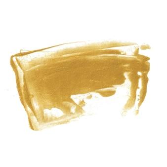 Macchia di vernice dorata isolata su sfondo bianco. texture oro lucido realizzata con spatola.