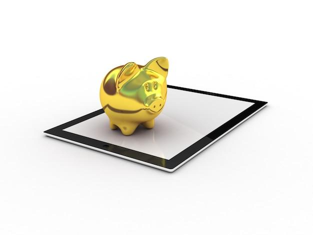 Salvadanaio e tablet dorati. illustrazione 3d