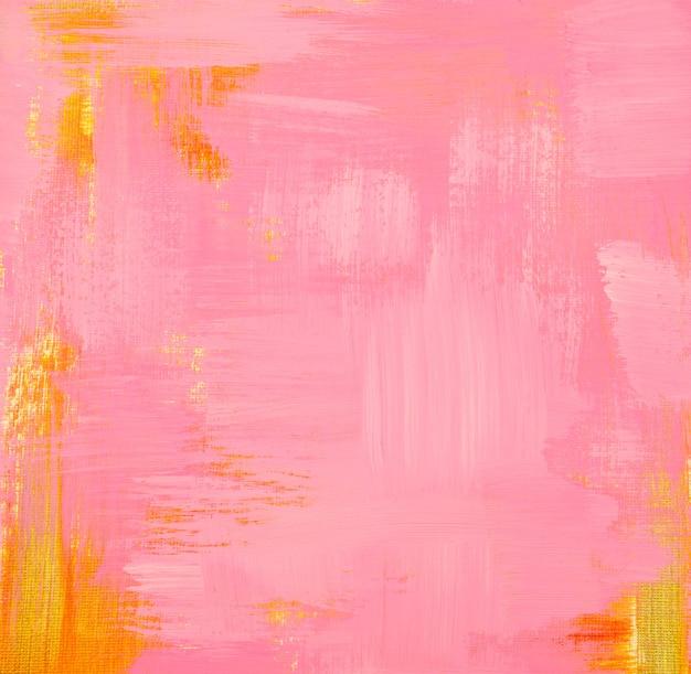 Pittura acrilica dell'elemento pastello dorato e rosa sul fondo di struttura dell'estratto della tela di lerciume