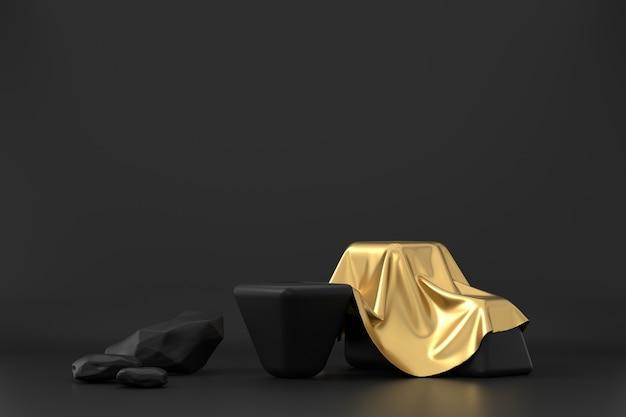Rendering 3d del podio della piattaforma dorata in sfondo nero