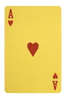 Carte da gioco d'oro asso di cuori isolati