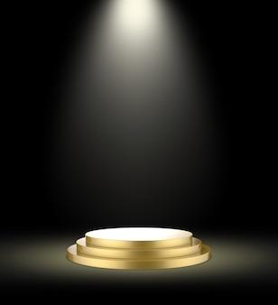 Podio d'oro su uno sfondo scuro con riflettori