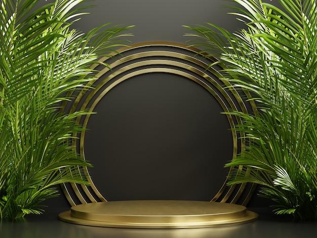 Display podio dorato con foglie di palma