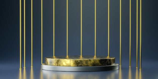 Podio d'oro per la presentazione del prodotto, rendering 3d