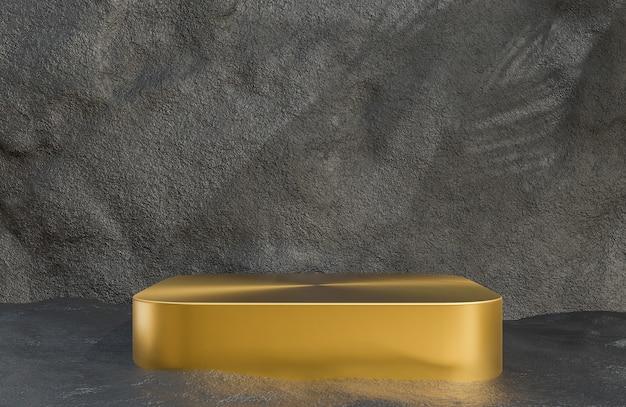 Podio dorato per la presentazione del prodotto sullo stile di lusso del fondo del muro di pietra., modello 3d e illustrazione.