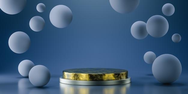 Podio d'oro per la presentazione del prodotto con sfere fluttuanti, rendering 3d