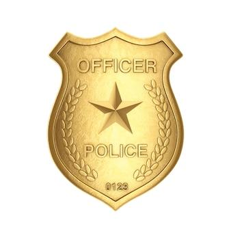 Distintivo dorato dell'ufficiale di polizia su un fondo bianco. rendering 3d