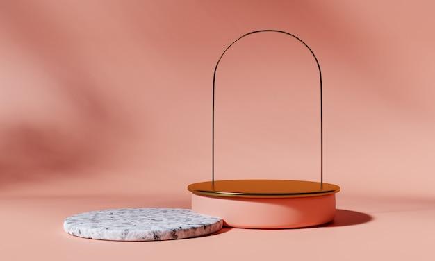 Podio prodotto dorato con arco e podio in marmo su sfondo rosa. rappresentazione 3d.