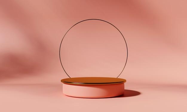Podio prodotto dorato con arco su sfondo rosa. rappresentazione 3d.