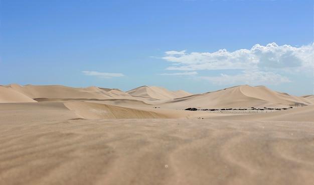 Dune di sabbia dorata e nuvole bianche in una giornata di sole