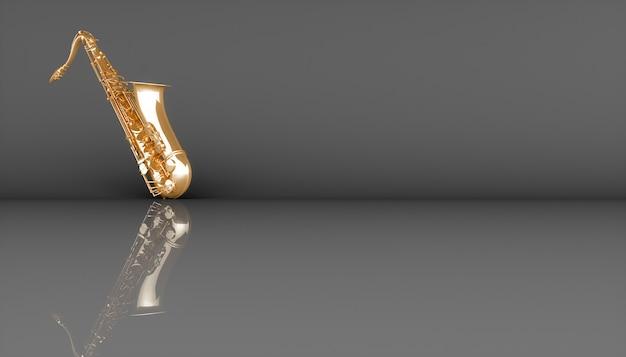 Sassofono dorato su sfondo nero, illustrazione 3d