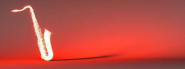 Sassofono dorato su uno sfondo rosso, 3d'illustrazione