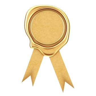 Sigillo d'oro cera o sigillo con nastro su sfondo bianco. rendering 3d