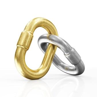 Collegamenti a catena d'oro e d'argento isolati