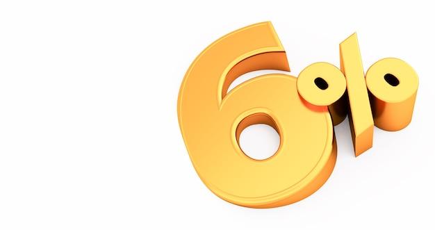 Golden six 6 per cento isolato., 6 per cento di sconto, rendering 3d