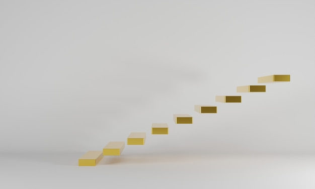 La scala dorata con sfondo bianco sembra comoda con le scale moderne