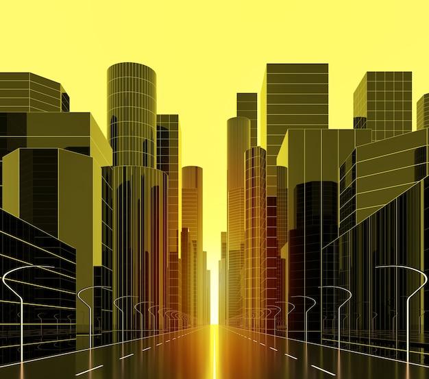 Immagine di rendering 3d di golden streetvista dal centro della strada principale il sole splende luminoso