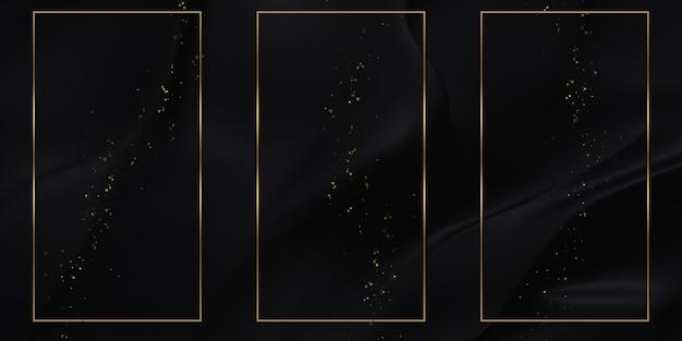 Illustrazione 3d delle strisce lucide del fondo di struttura della cornice di testo dorata