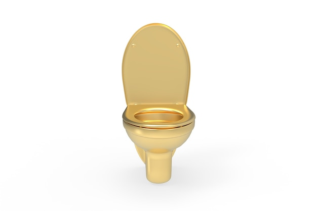 Angolo frontale della toilette dorata su sfondo bianco