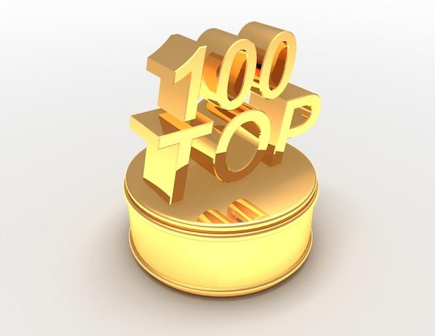 Top 100 d'oro sul podio. 3d reso illustrazione