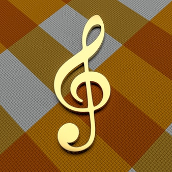 Chiave di violino dorata. rendering 3d.