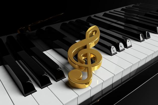 La chiave di violino dorata è sui tasti del pianoforte del primo piano estremo
