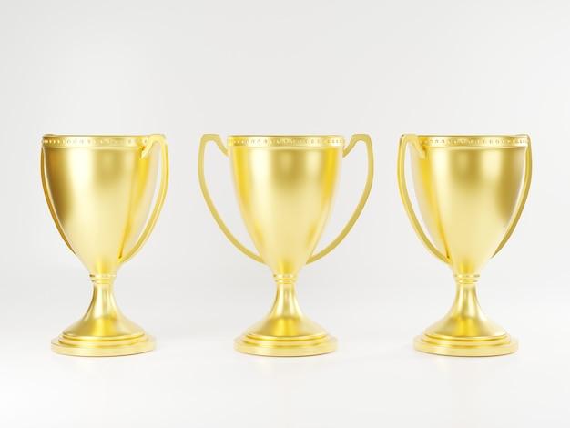 Coppa del trofeo d'oro coppa del vincitore del trofeo del campione in oro lucido metallico e rendering 3d della vittoria