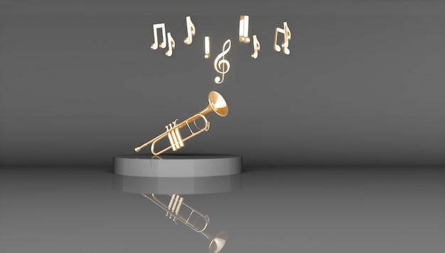 Tromba d'oro su uno sfondo nero, 3d'illustrazione