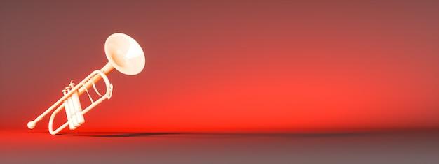 Tromba d'oro su uno sfondo rosso, 3d'illustrazione
