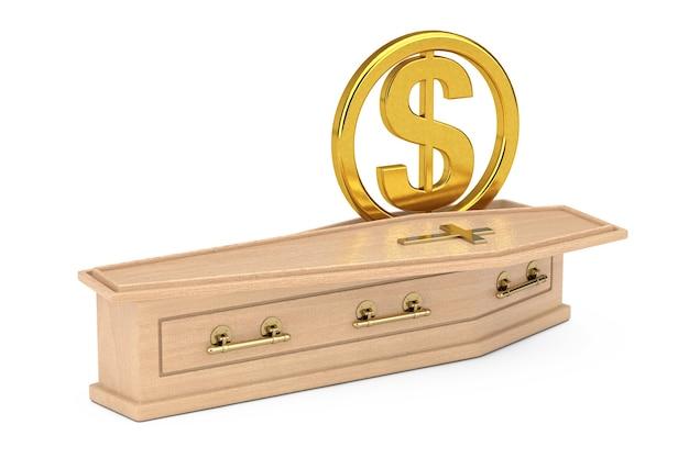 Simbolo di valuta dollaro statunitense dorato accedi bara di legno con croce dorata e maniglie su sfondo bianco. rendering 3d