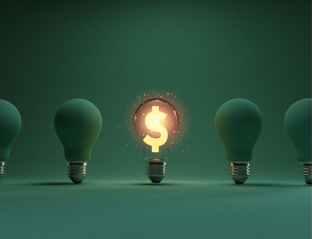 Il segno dorato del dollaro usa che brilla all'interno di una lampadina trasparente tra lampadine opache per un'idea di pensiero creativo e la risoluzione dei problemi può fare più soldi con la tecnica di rendering 3d.