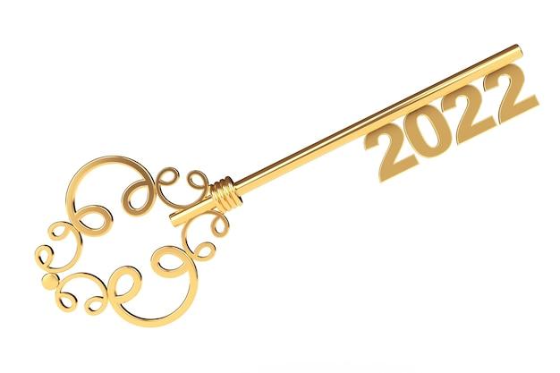 Chiave d'epoca d'oro con segno 2022 anni su sfondo bianco. rendering 3d