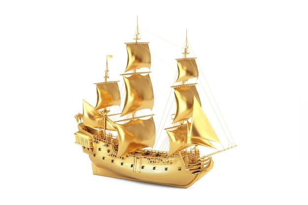 Golden vintage tall veliero, caravel, nave pirata o nave da guerra su sfondo bianco. rendering 3d