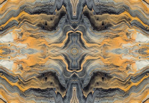Reticolo dorato dell'onda e dei riccioli. caleidoscopio effetto marmorizzato di lusso. arte fluida acrilica.