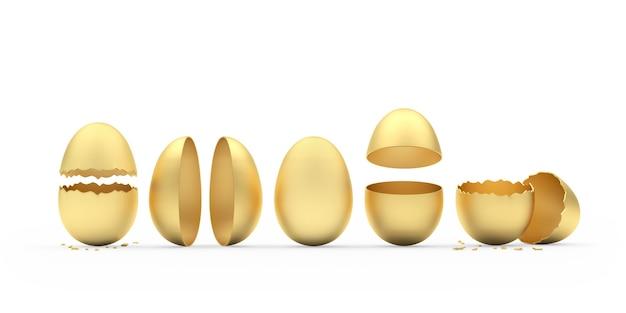 Uova rotte intere e diverse dorate