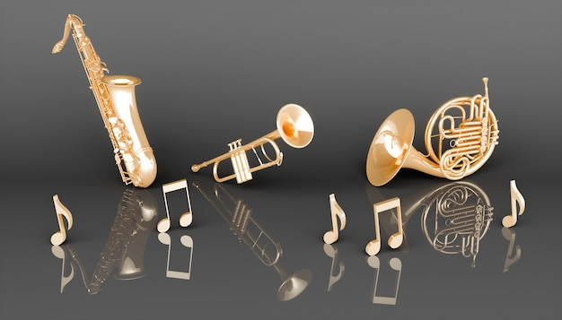 Strumenti musicali a fiato d'oro su sfondo nero, illustrazione 3d