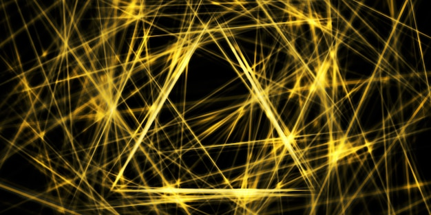 Linea retta bagliore giallo dorato immagine 3d di sfondo triangolo contrastante